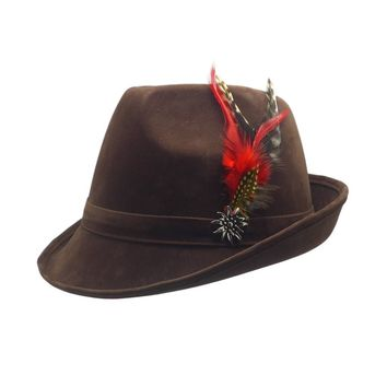 """""""German Hunter"""" Brown Hat Fedora With Edelweiss & Feather"""