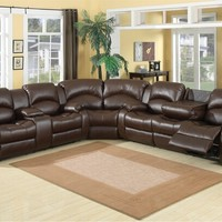 A.M.B. Furniture & Design :: Living room furniture :: Sofas and Sets :: Leather sectionals :: 3 pc Samara chocolate bonded leather sectional sofa with recliners on the ends and overstuffed arms and backs