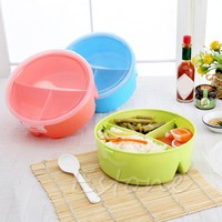 Randomly Color Portable Picnic Box Round Microwave Box  Bento Food Container Storage withSpoon Randomly Color H06