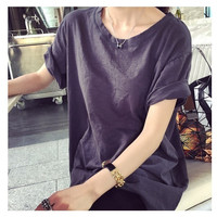 Basic Cuffed Sleeve T-Shirt