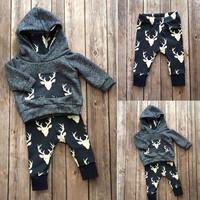 2016 Fashion baby boy girl clothes set  Autumn Winter cotton Deer Hooded Top+Pant newborn infant 2pcs suit baby clothing sets
