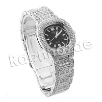 ICED OUT RAONHAZAE 50 CENT SILVER LAB DIAMOND WATCH MIAMI CUBAN CHAIN SX2
