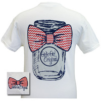 Girlie Girl Originals  Mason Jar Chevron Bow Bright T Shirt