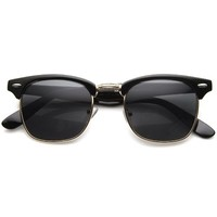 Classic Iconic Style Half Frame Horn Rimmed Sunglasses (Black-Gold/Smoke)