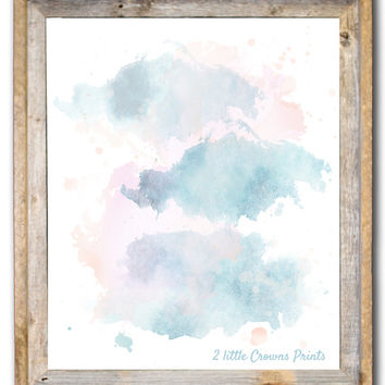 Abstract Watercolor Painting Printable Home Decor Abstract Aqua & Coral Brush 8x10 11x14 Instant Download Office Art Teen Room Nursery Print