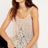 Staring at Stars Knit and Lace Mix Ivory Cami Top - Urban Outfitters