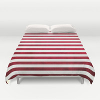 Red And White Stripes On Fabric Texture Duvet Cover by Inspired By Fashion