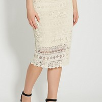 pencil skirt with crocheted overlay | maurices