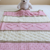 Baby Blanket Pattern, Knit Baby Blanket Pattern, Heart Baby Blanket Pattern, Crib Blanket