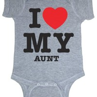 So Relative! Unisex Baby I Love My Aunt (Red Heart) Bodysuit (Heather Gray, 18 Months)