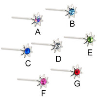 Sterling silver nose stud with jeweled sun, long tail for custom bend! 20 ga