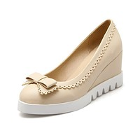 Bow Platform Wedges Heels Shoes for Women 9365