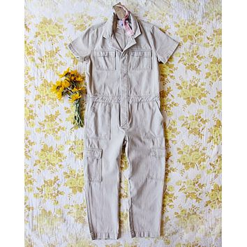 Rosie Coverall Utility Jumpsuit in Sand