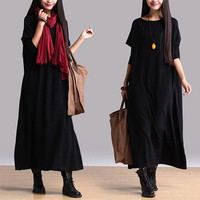 Women cotton dress maxi dress large size dress Casual dress/Loose Fitting dress/Long Sleeve dress autumn clothing plus size dress
