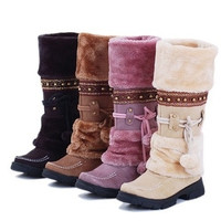 Charming Women's Lace Up FUR LINED Winter Warm Flat Knee High Snow Boots Lady Ski Snow Shoe = 1932872644