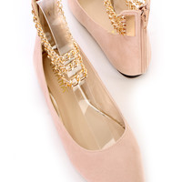 Nude Chain Ankle Strappy Flats Faux Suede