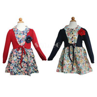 10 Pcs/lot + New arrivals 2014 Baby Kids Girl long sleeve Splicing Cotton Blended Clothing princess Dress Dresses For spring/autumn/winter