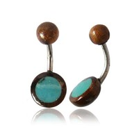 OrganicTamarind Wood and Turquoise Disc Surgical Steel Belly Button Navel Ring