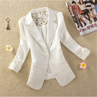 2016 Women New Short Slim Suits Blazers Elegant 3/4 Sleeve Thin Outerwear Coats Notched Embroidery Lace Jackets Cardigans S-3XL