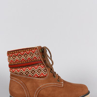 Liliana Fair Isle Fleece Lace Up Flat Booties
