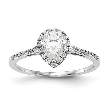 1/3 Ct. Natural Pear Shape Diamond Semi-mount Engagement Ring in 14K White Gold