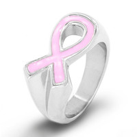 Stainless Steel Pink Breast Cancer Awareness Ribbon Band Ring
