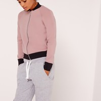 Missguided - Petite Scuba Bomber Jacket Pink