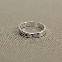 Mature F'ck Off Sterling Silver Toe Ring