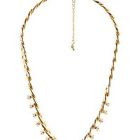 Gold Pearl Embellished Chain Choker Necklace by Charlotte Russe