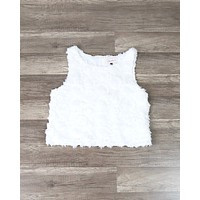 Wild Rose Crop Top in Ivory