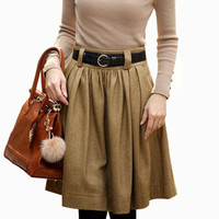 2016 Autumn Winter Wool Skirt For Women Plus Size Solid Retro High Waist Long Pleated Skirts Womens Saias Femininas W/Sashes