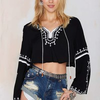 Dahlia Embroidered Crop Top