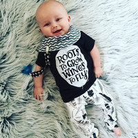 2016 New style summer baby boys girls clothes t-shirt + pants cotton suit children set Kids clothing newborn infant clothing