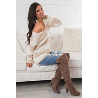 Ellaria Striped Sweater (Ivory/Taupe)