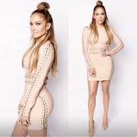 Clothing : Bodycon Dresses : 'Anuki' Nude Long sleeve dress with chain detail