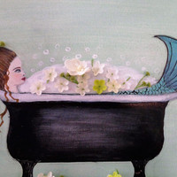 Mermaid Wall Art- Acrylic Painting on Canvas- Girls Room Decor- Mermaid Bathroom- Mixed Media Art-16X20 Inches