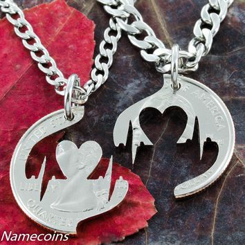 Heart Beat Couples Necklace, our heartbeat hand cut coin