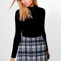 Priya Monochrome Check A Line Mini Skirt | Boohoo