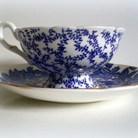 Vintage Coalport Bone China Teacup and Saucer Blue Ivy