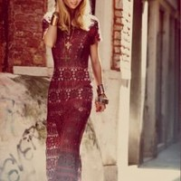 Free People Hand Crochet Maxi Dress at Free People Clothing Boutique