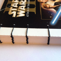 STAR WARS II Attack of the Clones coptic journal reworked Video box with Black stitching 160 plain white pages Retro book for Star Wars fan