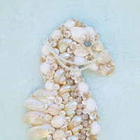 Seahorse Wall Art Seashells Pearl and White