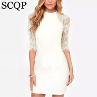 Sexy White Black Lace Patchwork Club Dress Casual Solid Half Sleeve Women Clothing Summer Chiffon Mini Party Dress