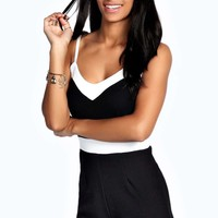 Megan Contrast Colour Block Strappy Playsuit