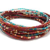 3 Stretch seed bead wrap bracelets, stacking, beaded, boho anklet, bohemian, stretchy stackable multi strand, maroon, teal blue green, gold