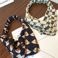 GUCCI Summer Letters Cross Wide Headband With Jewelry Hairband two color