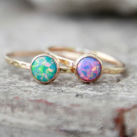 GOLD OPAL Ring- Opal Stacking ring ~ 6mm Opal ring - Gold Filled - opal ring - 15 DIFFERENT opals choose your opal - stacking gemstone ring