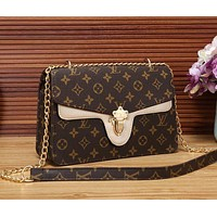 LV Newest Fashionable Women Shopping Leather Metal Chain Shoulder Bag Crossbody Satchel Golden I/A