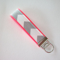 Key FOB / KeyChain / Wristlet  - Gray and white Chevron - Zig Zag on neon coral