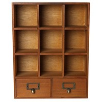 Vintage Freestanding / Wall Mounted Wooden Display Shelves w/ 2 Drawers Storage Shadow Box - MyGift®